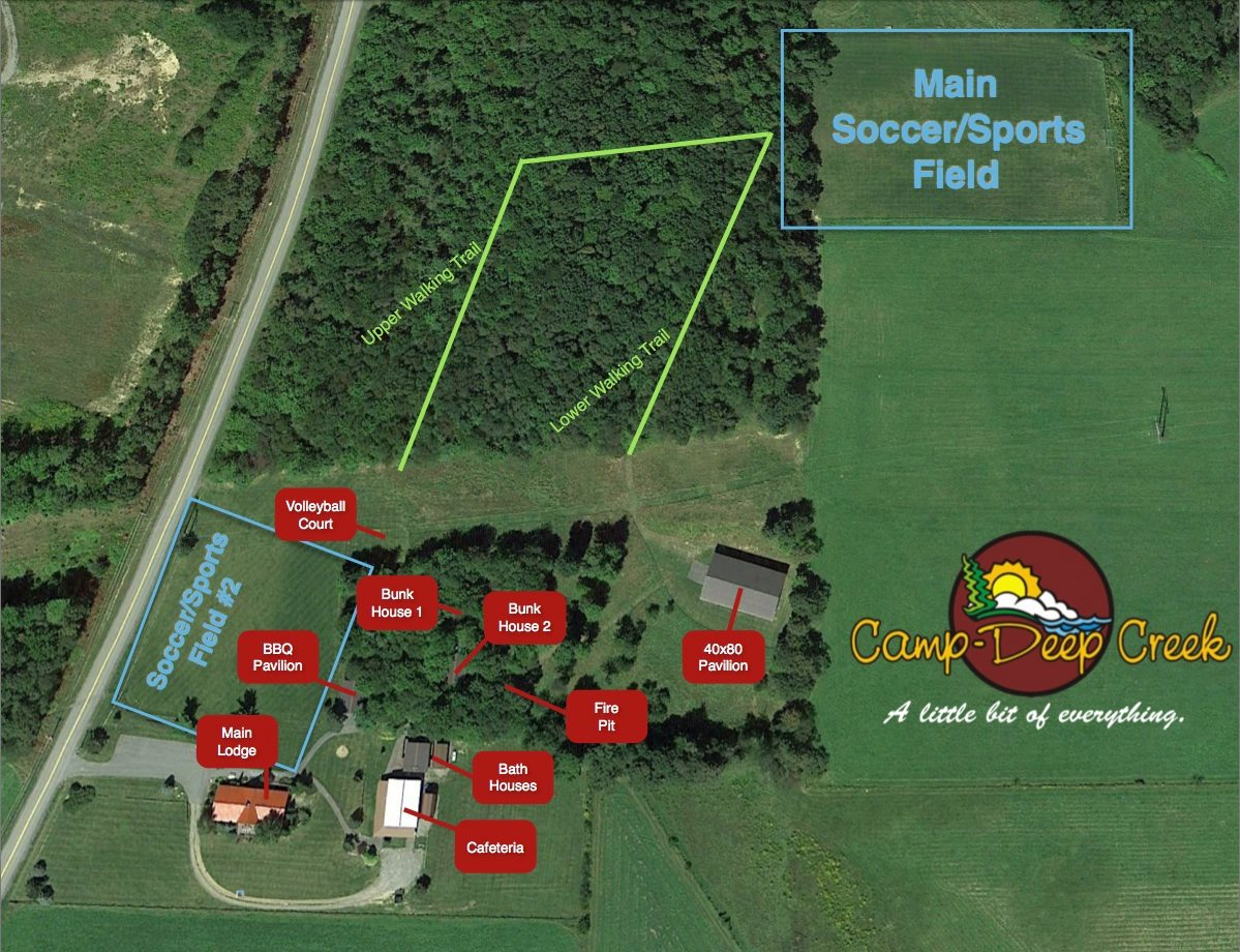 Map of sports fields and activities at Camp Deep Creek